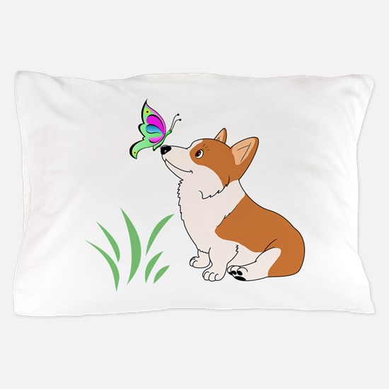 Corgi with butterfly Pillow Case