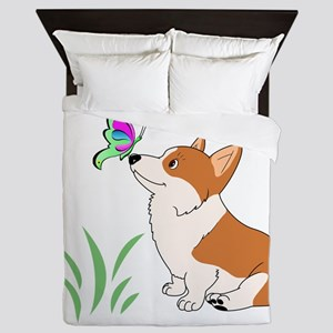 Corgi with butterfly Queen Duvet