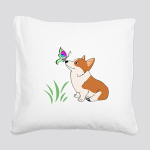 Corgi with butterfly Square Canvas Pillow