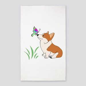 Corgi with butterfly Area Rug