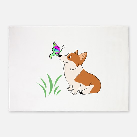 Corgi with butterfly 5'x7'Area Rug
