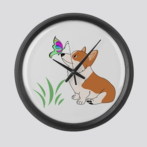 Corgi with butterfly Large Wall Clock