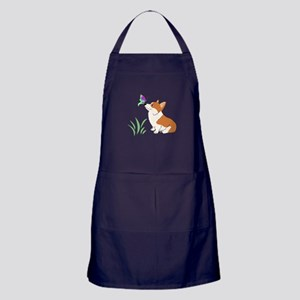 Corgi with butterfly Apron (dark)