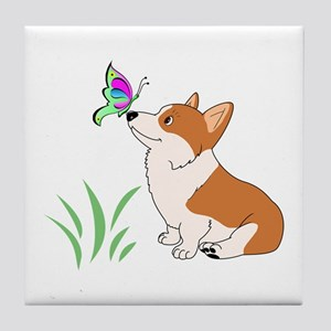 Corgi with butterfly Tile Coaster