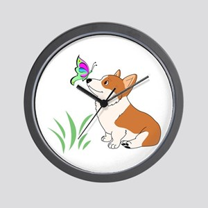 Corgi with butterfly Wall Clock