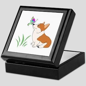 Corgi with butterfly Keepsake Box