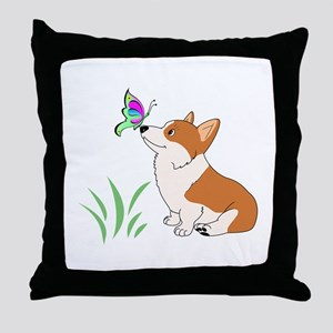 Corgi with butterfly Throw Pillow