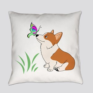 Corgi with butterfly Everyday Pillow