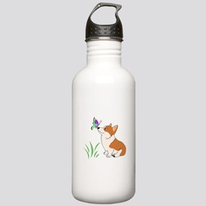 Corgi with butterfly Water Bottle