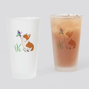 Corgi with butterfly Drinking Glass