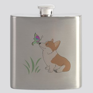 Corgi with butterfly Flask