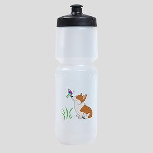 Corgi with butterfly Sports Bottle