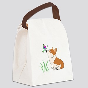 Corgi with butterfly Canvas Lunch Bag