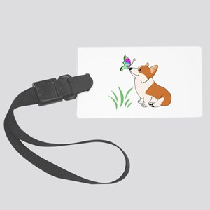 Corgi with butterfly Luggage Tag