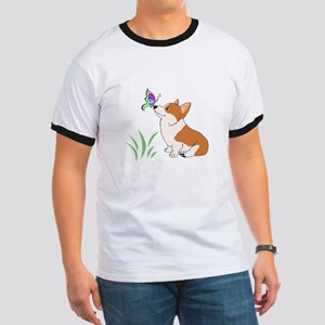 Corgi with butterfly T-Shirt