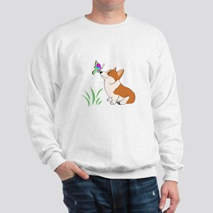 Corgi with butterfly Sweatshirt