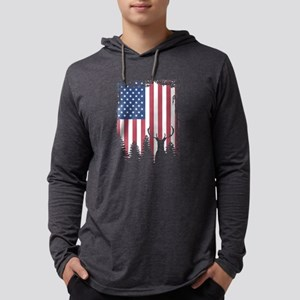 American Flag Deer Hunting Long Sleeve T-Shirt
