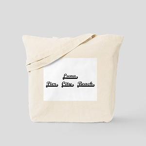 Luna Pier City Beach Classic Retro Design Tote Bag