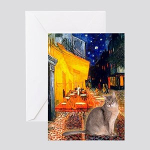 Cafe & Blue Abbysinian Greeting Card