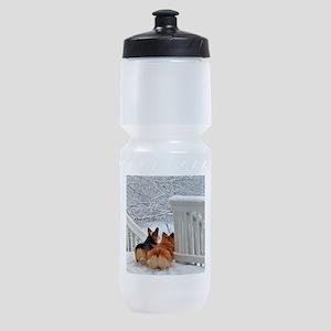 Two Corgis in winter snow Sports Bottle