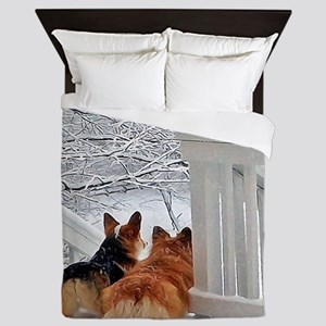 Two Corgis in winter snow Queen Duvet