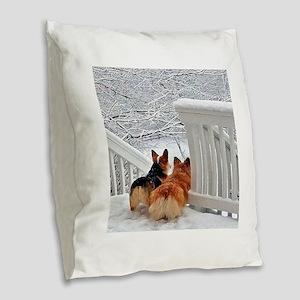Two Corgis in winter snow Burlap Throw Pillow