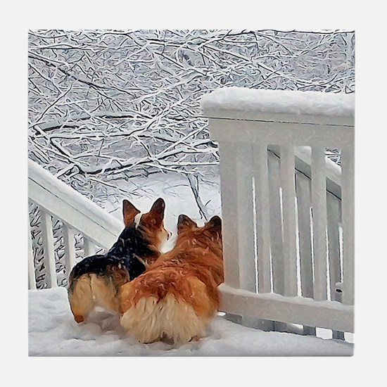 Two Corgis in winter snow Tile Coaster