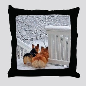 Two Corgis in winter snow Throw Pillow