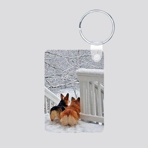 Corgis in Winter Keychains