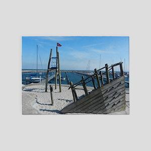 Shipwreck Beach Scene 5'x7'Area Rug