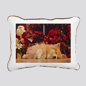 Sleepy Christmas Corgi Rectangular Canvas Pillow