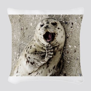 Harbor Seal Pup Woven Throw Pillow