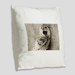 Harbor Seal Pup Burlap Throw Pillow