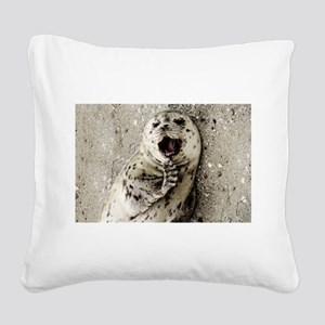 Harbor Seal Pup Square Canvas Pillow