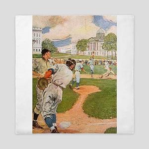 baseball art Queen Duvet