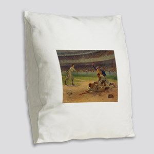 baseball art Burlap Throw Pillow