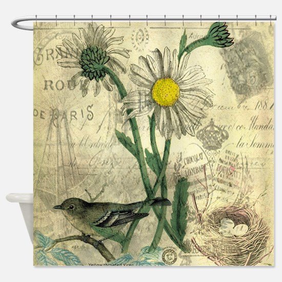 Vintage Daisy and bird Shower Curtain