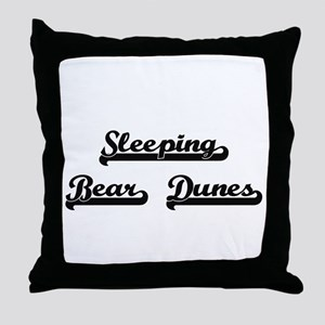 Sleeping Bear Dunes Classic Retro Des Throw Pillow