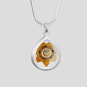 San Bernardino County Sh Silver Teardrop Necklace