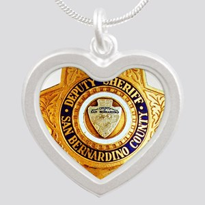 San Bernardino County Sherif Silver Heart Necklace