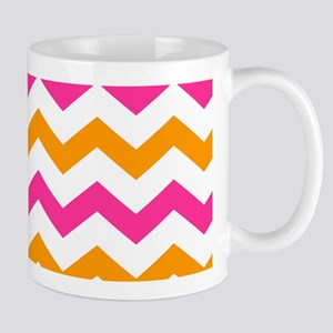 Pink and Orange Chevron Pattern Mugs