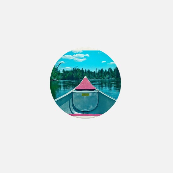 Canoe on River Mini Button