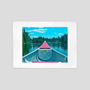 Canoe on River 5'x7'Area Rug