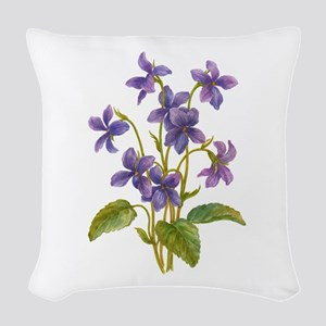 Purple Violets Woven Throw Pillow