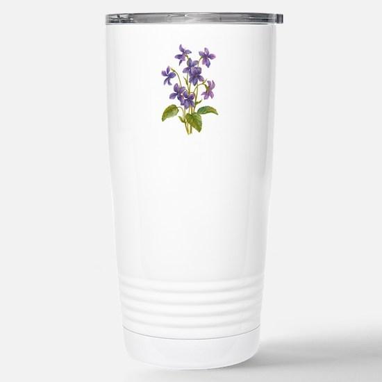 Purple Violets Stainless Steel Travel Mug