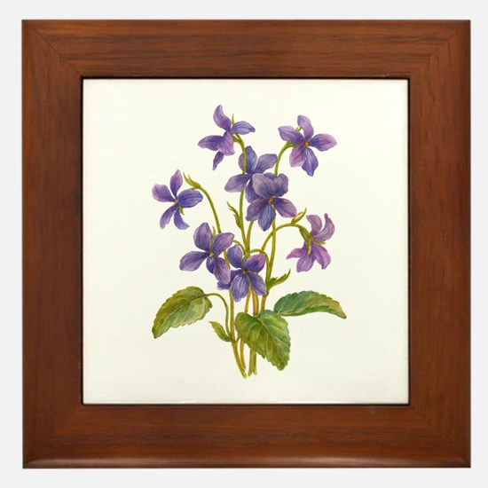 Purple Violets Framed Tile