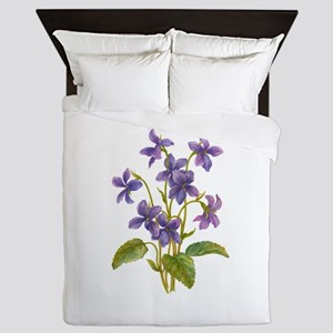 Purple Violets Queen Duvet