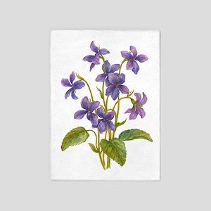 Purple Violets 5'x7'Area Rug