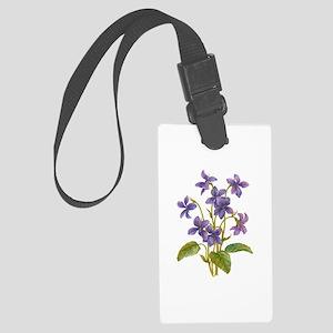 Purple Violets Large Luggage Tag