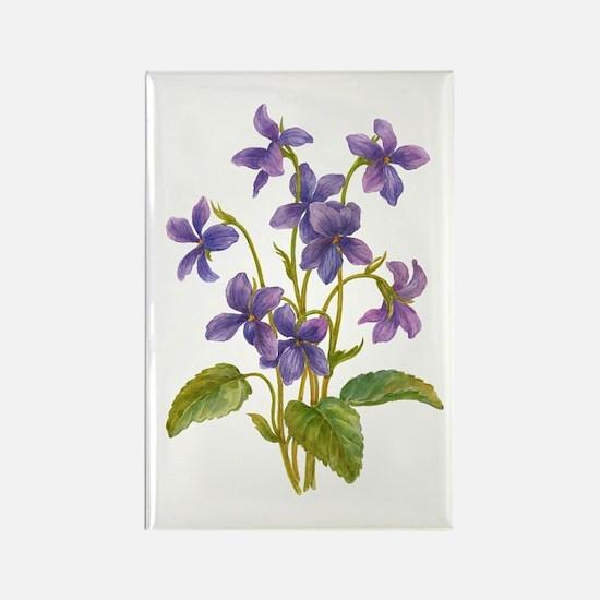 Purple Violets Rectangle Magnet (100 pack)